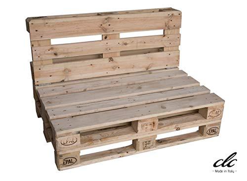 clc Divano divanetto Pallet a 2 posti EPAL per Esterno -Made in Italy- Legno Verniciato, 120x80x78