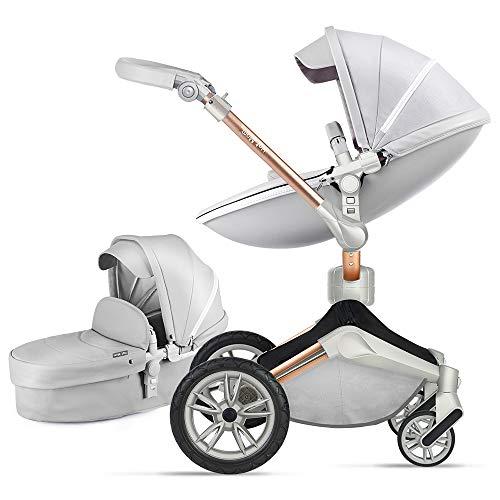 Hot Mom baby passeggino con rotazione 360 gradi, 100% PU cuoio,alto paesaggio passeggino neonato,...