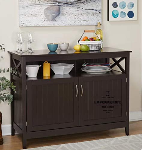 Kingwood Furniture Cabinet & Sideboard for Kitchen and Living Room in Sheesham Wood with Walnut Finish (Dark Brown) - Size 45 x 16 x 35 Inches