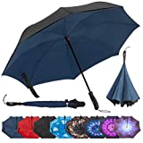 Repel Reverse Folding Inverted Golf Umbrella with 2 Layered Teflon Canopy and Reinforced Fiberglass Ribs, Navy Blue