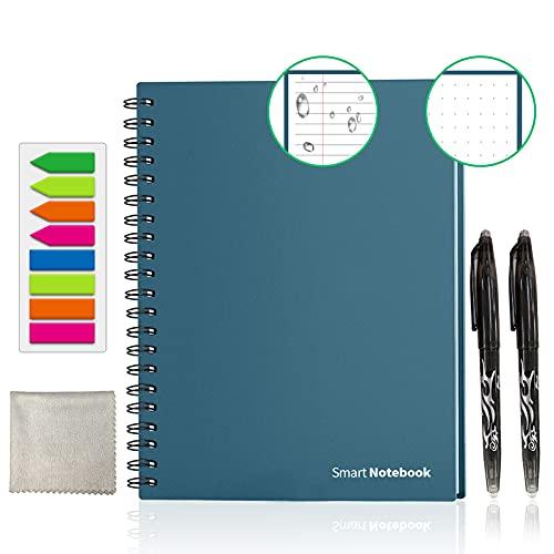 GUYUCOM Cuaderno Reutilizable A4, Cuaderno Inteligente, Cuaderno Digital con Bolígrafo Borrable y Limpie para el Almacenamiento Rápido de la Nube del Boceto y la Reutilización Infinitamente.