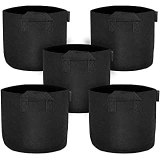 FiveSeasonStuff 10 Gallon Grow Bags   Sturdy Strap Handles   Soft Permeable Breathable Non-Woven Black Fabric   Better Aeration Promotes More Root Growth   Indoor Outdoor   40 x 40 x 30cm (5 Pack)