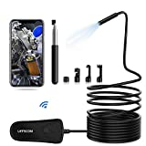 LETSCOM Wireless Endoscope, IP68 Waterproof WiFi Borescope Inspection Camera, 5.5mm 2MP HD Zoomable Snake Camera with Telescopic Stick Semi-Rigid Cable for Android & iOS Smartphone -11.5Ft