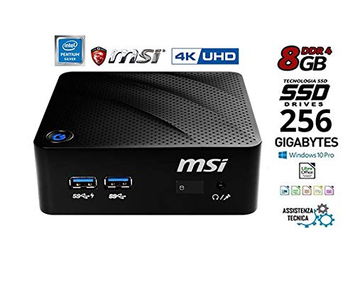 Mini Pc, Msi, Cpu Intel N 5000 fino a 2.7 GHz M.Fanless Design, Ram 8Gb ddr4, SSD m.2 256Gb Wi-Fi, 4 usb 3.0, Hdmi, lan, 4K codifica Video h265, supporto vesa incluso, Win10 Pro 64bit, Pronto all'uso