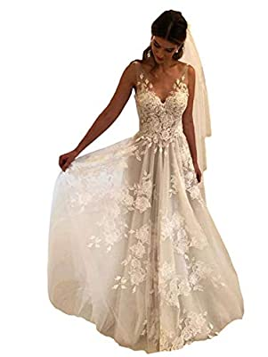 Imported Soft and Comfy Lace Wedding Dress, Flowy Tulle Skirt Bridal Gown, Lightweight Lining Wedding Dresses, 100% Hand Made Beach Bride Dress for Women, Built-in Bra Boho Wedding Dresses This modest v neck wedding dress features lace bodice, long s...