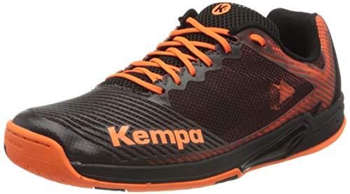 Kempa Herren Wing 2.0 Handballschuhe, Mehrfarbig (Schwarz/Fluo Orange 02), 39 EU