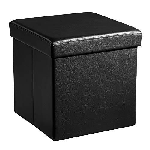 SONGMICS Faltbarer Sitzhocker Aufbewahrungsbox belastbar bis 300 kg, Lederimitat, schwarz, 38 x 38 x 38, LSF101