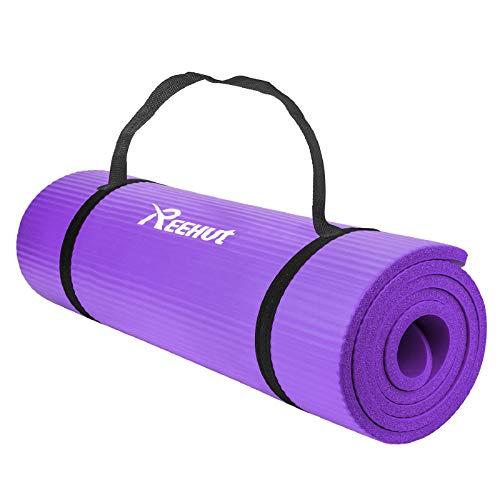 REEHUT Esterillas de ejercicio NBR Fitness Yoga Esterillas – 12 mm extra grueso de alta...