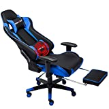 Nokaxus Gaming Chair Large Size High-Back Ergonomic Racing Seat with Massager Lumbar Support and Retractible Footrest PU Leather 90-180 Degree Adjustment of backrest Thickening sponges (YK-6008-BLUE)