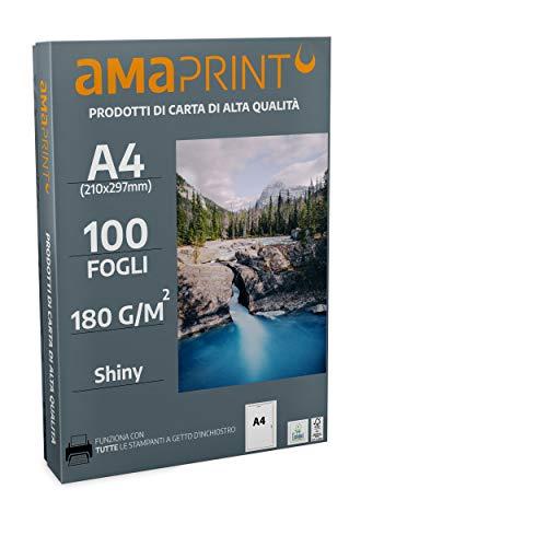 Amaprint 100 fogli di carta fotografica A4 lucida 180g/m per stampante inchiostro - alta brillantezza - impermeabile