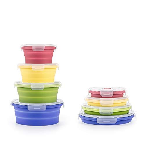 Virklyee Boîte à Lunch Pliante en Silicone 4 Pcs Support Pliable...