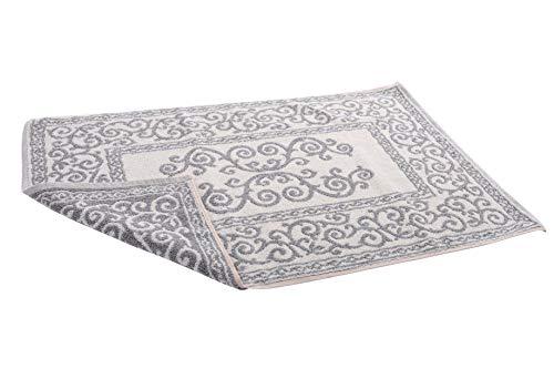 HomeLife - Tappeto Bagno Rettangolare in Cotone [Dimensioni: 45X60] - Scendi Doccia Alta Qualita Made in Italy Lavabile in Lavatrice - Decorazione Barocca Grigio