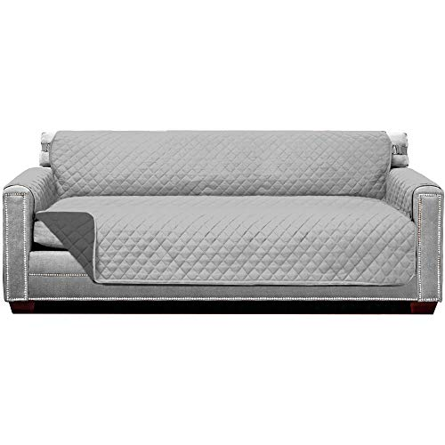 Sofa Shield Original Patent Pending Reversible X-Large Oversized Sofa Protector, Many Colors, Seat Width to 78 Inch, Furniture Slipcover, 2 Inch Strap, Couch Slip Cover Throw for Pet, Lt Gray Charcoal