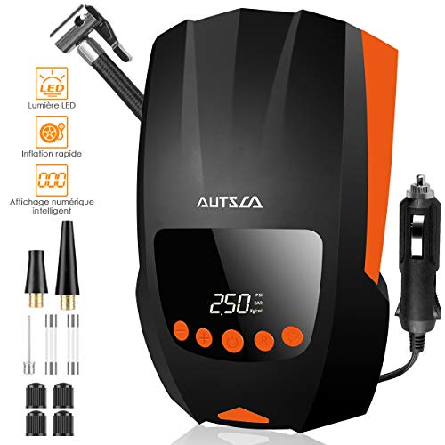 AUTSCA Compresseur d'Air Portatif 12V 120W 150PSI Electrique Compresseur Air Numérique avec Lampe LED 3 Adaptateurs pour Voiture/SUV/Moto/Airbed/Vélo etc, LED, Sac de Rangement Inclus