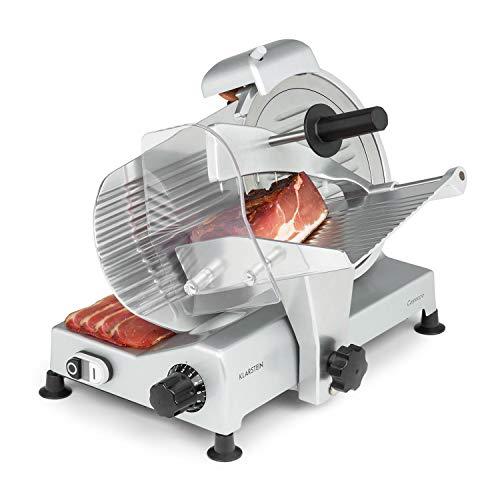 Klarstein Carpaccio - Affettatrice, Potenza: 240 Watt/282 rpm, Spessore di Taglio: 1-12 mm, Superficie di Taglio: 200x155 mm (LxA), Argento