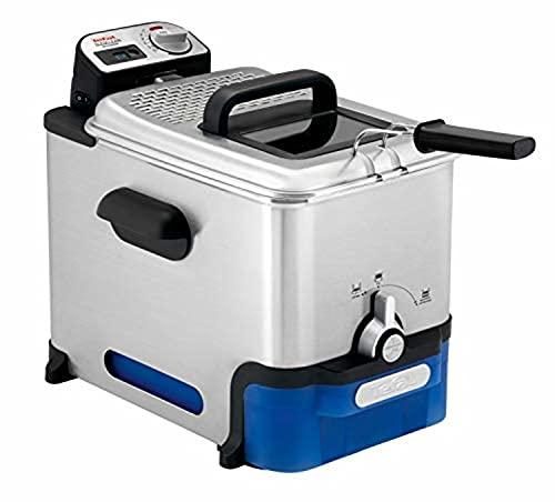 Tefal Oleoclean Friteuse semi-professionnelle 3,5 L, 2300 W, Jusqu'à 6 pers, Filtration automatique de l'huile, Minuteur digital, Hublot de contrôle, Thermostat, Boite de stockage d'huile FR804000