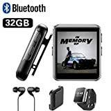32GB Clip MP3 Player with Bluetooth, Sports Watch MP3 Player with Touch Screen, Mini MP3 Player with Headphones,Voice Recorder,E-Book,Video Play,HiFi Lossless Sound Music Player for Running, 1.5 Inch