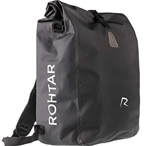 Rohtar 3in1 Fahrradtasche - wasserdicht & reflektierend - als Gepäckträgertasche, Umhängetasche & Rucksack einsetzbar - ideale Gepäcktasche fürs Fahrrad - 18L/25L (schwarz/gelb/rot) - (Schwarz, 18L)