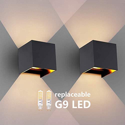 2 PCS Wandleuchte G9 LED Wandlampe Innen/aussen Modern Wasserdichte ip65 Wandlampen 3000K Beleuchtung für Badezimmer, Balkon, Treppen, Terrasse, außen, bad leuchten (schwarz)