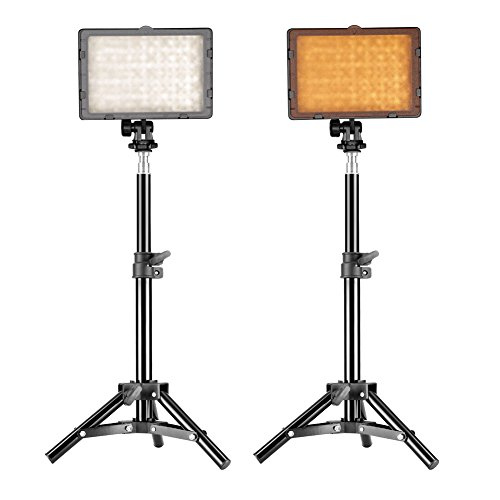 "Neewer 160 LED Studio Photography Lighting Kit, including (2)CN-160 LED Light Panel (2)32"" / 80cm Mini Light Stand for Tabletop/Low Angle Shooting, Product Portrait YouTube Video Photography"