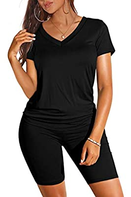 Material : Polyester + Spandex. Perfect Stretch, Breathable Material and Soft Texture. Design : Short Sleeve Two Piece Outfits, Solid Color Short Sets, Tie Dye Lounge Sets, V Neck T Shirts + High Waist Biker Shorts Set, Casual Active Tracksuits, Soft...