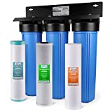 iSpring WGB32BM 3-Stage Whole House Water Filtration System w/ 20 x 4.5 Big Blue Sediment, Carbon, and Iron & Manganese Reducing Filters