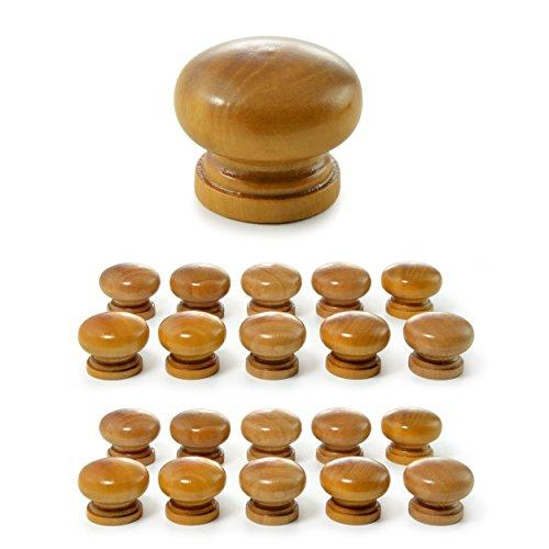 Ganzoo - Set di 20 pomelli per mobili, in legno, per mobili e armadi, per porte, in stile vintage, shabby, stile antico e rustico, adatti per ante di armadi o cassetti