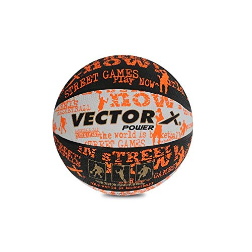 Vector X Power Rubber Basketball (Color : Black/White/Orange , Size : 7 )