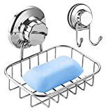 ARCCI Soap Dish and Towel Hook with Suction Cup, Super Powerful Vacuum Suction Cup Soap Rack, Strong Stainless Steel Soap Holder for Shower & Bathroom & Kitchen