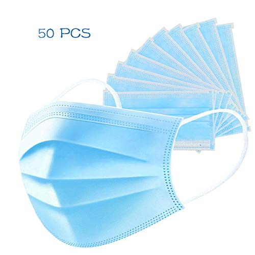 Disposable Earloop Mouth Face Mask 3-Layer Masks 50PCS Safety Mask Dust (50-pcs)