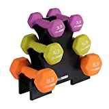 HolaHatha 3Lb, 5Lb & 8Lb Hex Dumbbell Set with Rack Stand, Ideal Strength Weight Training for Ladies, Women's Weights Perfect Home Workout Gym Exercises for Muscle Toning Fitness