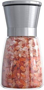 Moulin à poivre en acier inoxydable avec corps en verre Broyeur manuel en céramique réglable Broyeur à épices pour herbes Convient pour le gros sel de mer, le poivre