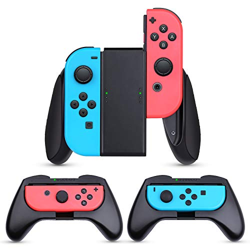 HEYSTOP Nintendo Switch Joy-con Grips (3 Piezas), Mando Joycon Grip Kit, Funda Protector Handle Kits para Mandos JoyCon Set de Nintendo Switch Controller
