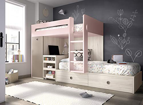 Hochbett Kinderzimmer 313 ausziehbarer integrierter Schreibtisch,Blockkleiderschrank,freie Farbwahll