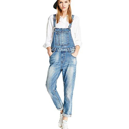 Damen Latzhosen Jeanshosen Denim Overall Jumpsuit,Blue,XXL