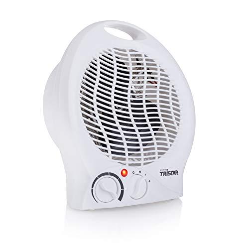 Tristar KA-5039 Calefactor con ventilador eléctrico y 3 funciones ajustables, Termostato regulable, 2000 W, Asa integrada, Blanco