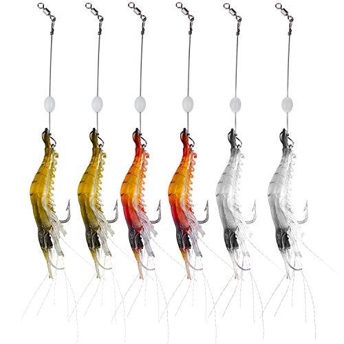 WANBY Set di Esche Mmorbide in Silicone Artificiale Esche da Pesca Luminose con Esche Artificiali per Gamberetti con Ganci Attrezzatura da Pesca Acqua Dolce / Acqua Salata (6)