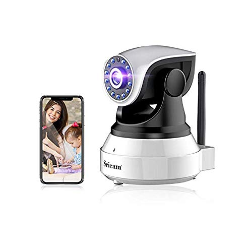 Telecamera di Sorveglianza WiFi, FHD 1080P IP Camera Wireless, Audio Bidirezionale, Modalità Notturna a Infrarossi, Rilevamento del Movimento,Lente Ruotabile