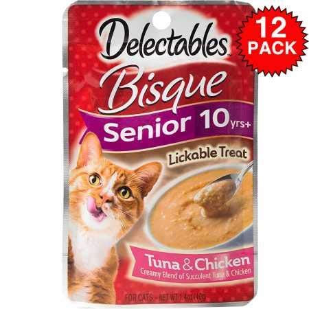 Hartz Delectables Bisque Lickable Treat for Senior Cats Tuna Chicken (Box of 12)