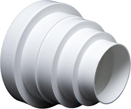 Riduttore universale per sistemi di ventilazione, diametro 80-150 mm.Riduttore con tubo di diametro 100, 120, 125 e 150 mm.Tubo per condotti di ventilazione..