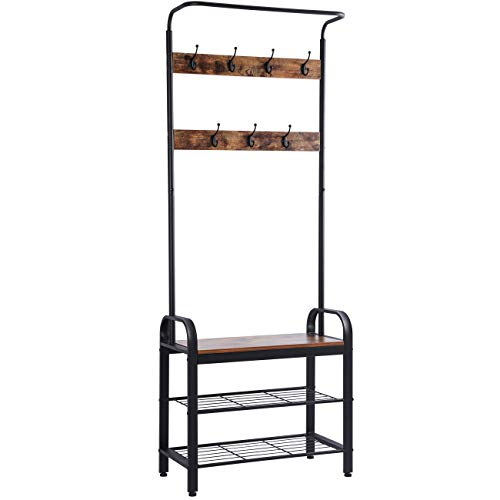 Sunnyglade Vintage Coat Rack Shoe Bench, Hall Tree Entryway Storage Shelf, Wood Look Accent Furniture Metal Frame, 3 in 1 Design, Easy Assembly