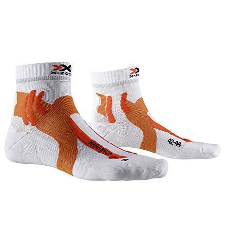 X-Socks Marathon, Calzini da Corsa Men's, Arctic White/Sunset Orange, 39-41