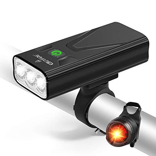 EBUYFIRE Luci Bicicletta LED Ricaricabili USB, Super Luminoso 3000 Lumens 3 modalit,5200mAh IPX5 Impermeabile Luci Bici Anteriori e Posteriori (con fanale Posteriore Non Ricaricabile)