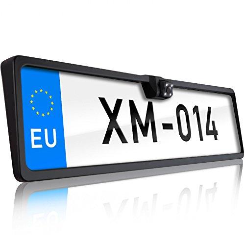 XOMAX XM-014 Telecamera per la Visione Posteriore con Porta Targa I Visione Notturna: 4 Luci a LED I Immagine a Colori con Linee I 170° Angolo de Visione I Impermeable I Facile da installare I Cavo 5m
