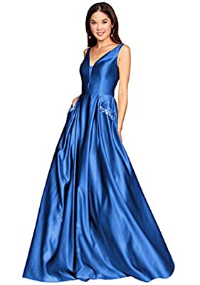 Floor Length Long A-line Sleevesless Open Back V Neck Beaded Satin Ball Gown With Pockets Corset Back Lace up Extra Large XS-XXXXXL Pls do refer to the pictures of our size charts which next to the images of dress.Custom made service is totally free....