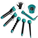 Entil 5 in 1 Curling Iron Wand Set with 5 Interchangeable Ceramic Barrels, 0.3-1.25 Inch Clip Dual Voltage, 3/4 Inch Clipless, Bubble, Pearl, Tapered Hair Curler for Women