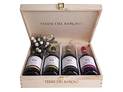 Selezione Vini Terre del Barolo In Cassetta Legno Originale - Idee Regalo Vino per Ogni Occasione Importante- cod 217