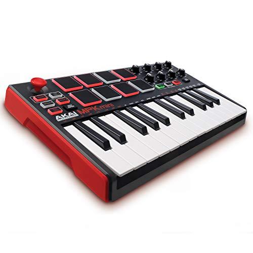 AKAI Professional MPK Mini MKII - Portables 25-Tasten-USB-MIDI-Keyboard Controller mit 16 hintergrundbeleuchteten Performance-fähigen Pads, 8 zuweisbaren Q-Link-Reglern und 4-Wege-Daumen-Joystick