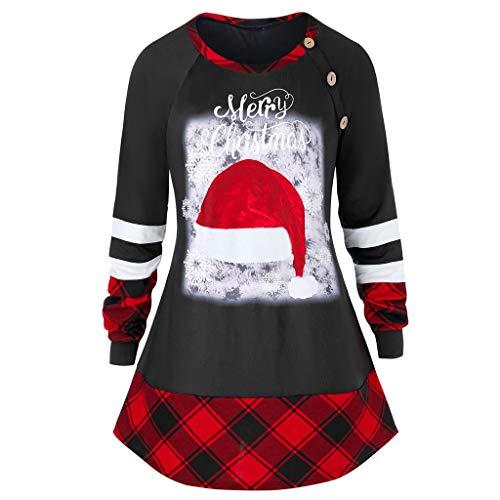 TOPSELD - Camicia da donna a maniche lunghe con collo a forma di pupazzo di neve e fiocco di neve Rosso 1 L