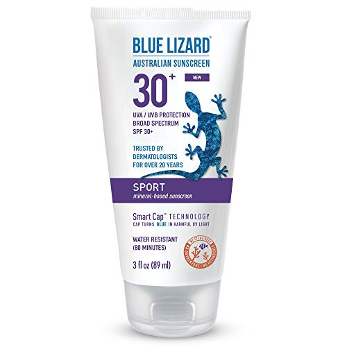 Blue Lizard Sport Mineral-Based Sunscreen – No Oxybenzone, No Octinoxate – SPF 30+ UVA/UVB Protection, 3 oz